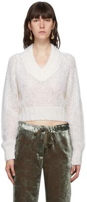 Marni White Mohair V-Neck Sweater
