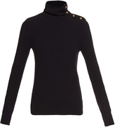 Chloé Buttoned high-neck ribbed-knit sweater