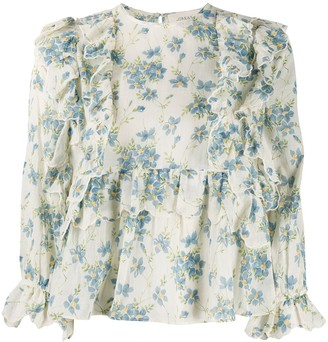 The Great Floral-Print Ruffled-Trim Blouse