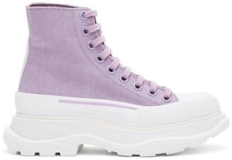 Alexander McQueen SSENSE Exclusive Purple Tread Slick Platform High Sneakers