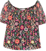 RED Valentino Off-the-shoulder Printed Crinkled Silk-chiffon Top - Black