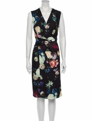 Adam Lippes Floral Print Midi Length Dress w/ Tags Black