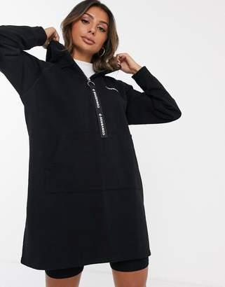 Converse Black Oversized Logo Zip Pull Hoodie