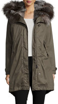 Woolrich Literary Fur-Trim Cotton Parka Coat, Military Olive