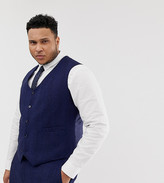 Asos DESIGN Plus wedding skinny suit vest in blue wool blend herringbone