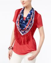 Style&Co. Style & Co Petite T-Shirt With Printed Fringe Scarf, Only at Macy's