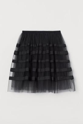 H&M Grosgrain-trimmed Tulle Skirt - Black