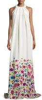Oscar de la Renta Pleated Floral-Print Halter Gown, White/Multi