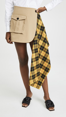 Monse Tartan Pleated Cargo Skirt