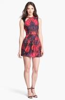 Nanette Lepore 'Navigator' Leather Trim Print Fit & Flare Dress