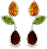 Galaxy Gold 14k White Gold Dangle Earrings with Peridots, Citrines and Garnets