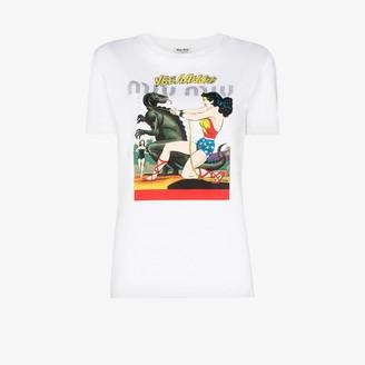 Miu Miu Wonder Woman print cotton T-shirt
