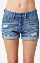 Bullhead Denim Co. Mexico Blue Ripped Cuffed Denim Girlfriend Shorts