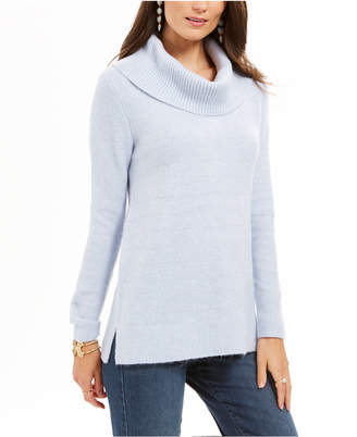 Style&Co. Style & Co Petite Metallic-Striped Turtleneck Sweater