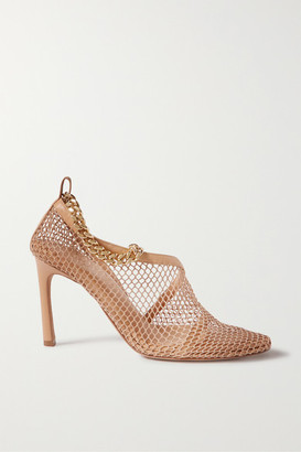 Bottega Veneta Chain-embellished Macrame And Leather Pumps - Beige