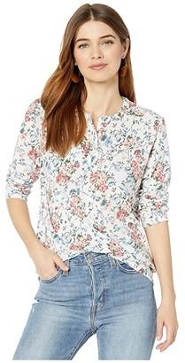 Lucky Brand Long Sleeve Button-Up Ruffle Bib Henley Top (White Multi) Women's Clothing