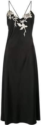 Natori embroidered charmeuse slip dress