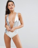 Missguided Leather Look Plunge Swimsuit