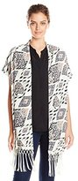 Vince Camuto Women's Marrakesh Tapestry Open Front Vest with Fringe