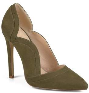 Brinley Co. Women's Pointed Toe Scalloped Faux Suede High Heel Pump
