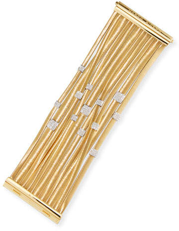 Marco Bicego Masai 18K Yellow Gold 11-Strand Bracelet with Diamond Stations