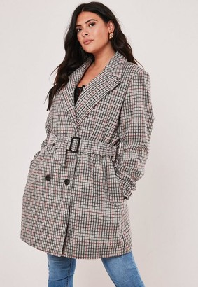 Missguided Plus Size Brown Belted Plaid Wool Mix Trench Coat