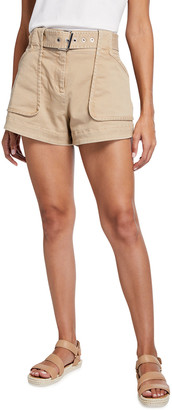 Derek Lam 10 Crosby Belted Patch-Pocket Utility Shorts