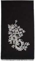 Alexander McQueen Black Wool and Silk Ivy Monogram Scarf