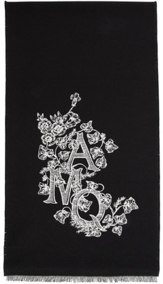 Alexander McQueen Black Wool and Silk Ivy Monogram Scarf