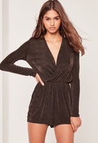 Missguided Slinky Wrap Playsuit Brown