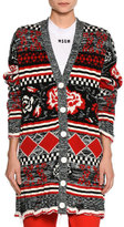 MSGM Floral Intarsia Cardigan Sweater, Multi Pattern