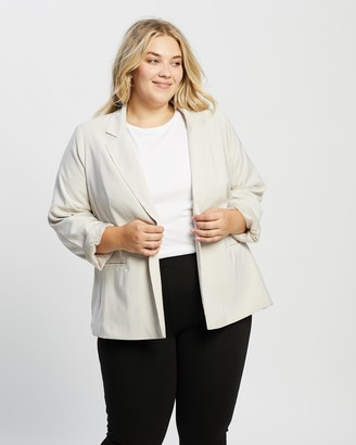 Cotton On Curve - Women's Neutrals Blazers - Slouchy Dad Blazer - Size 16 at The Iconic