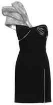 Saint Laurent Embellished Wool And Leather Mini Dress