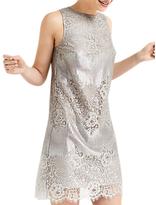 Oasis Metallic Lace Shift Dress, Silver