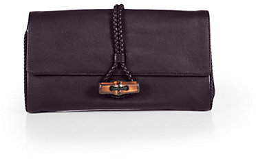 Gucci Hip Bamboo Deer Leather Clutch
