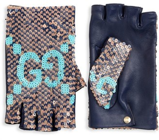 Gucci GG Sequin Faux Leather Fingerless Gloves