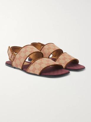 Gucci Suede-Trimmed Monogrammed Canvas Sandals