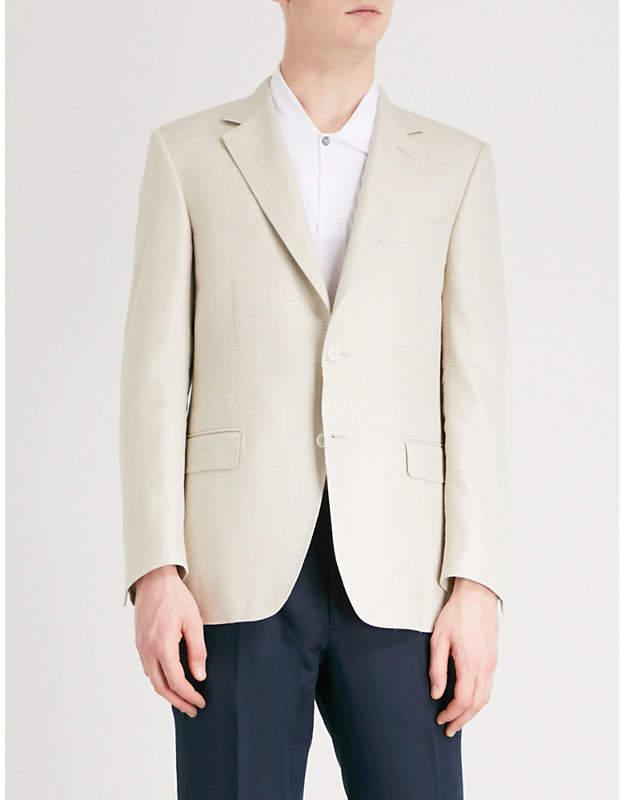 Canali Basketweave regular-fit wool and silk-blend jacket