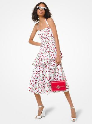Michael Kors Collection Cherry Cotton Poplin Peplum Halter Dress