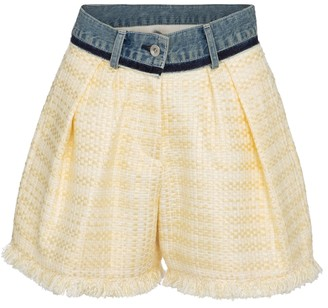 Sacai Denim-trimmed tweed shorts