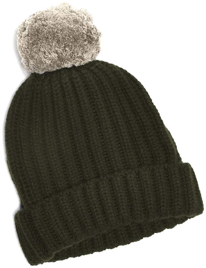 7447bc515 Big Pom Knit Two Tone Cashmere Hat in Green