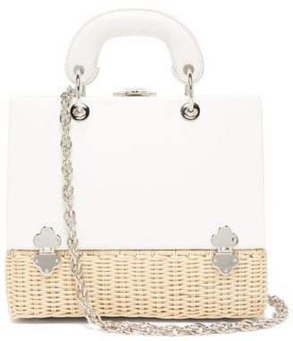 Rodo Sixty-six Small Wicker & Leather Box Bag - White Multi