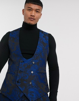 Twisted Tailor super skinny fit waistcoat with floral jaquard in blue