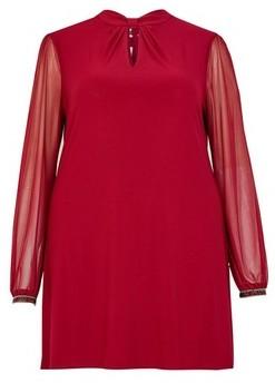 Dorothy Perkins Womens **Billie & Blossom Curve Wine Knot Neck Shift Dress