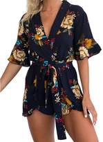 Fashion Story Womens Boho Style Beach Casual 3/4 Sleeves Jumpsuit Rompers Playsuit Outfit US 0-24