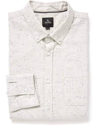 Rip Curl Brody Textured Woven Button Down Shirt Off White M