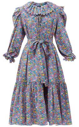 Horror Vacui Rosie Mushroom-print Cotton-corduroy Dress - Blue Multi