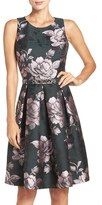 Eliza J Petite Women's Floral Jacquard Fit & Flare Dress