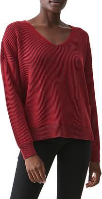 Michael Stars Sonnet V-Neck Rib-Knit Pullover