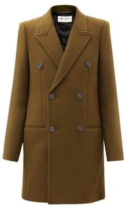 Saint Laurent Double-breasted Wool-blend Coat - Khaki
